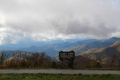 Elevation: 5,650 (daveynin) Tags: trees mountains fall weather sign season post cloudy overlook foilage blueridgeparkway