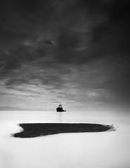 stuck in the horizon (chocoorange) Tags: bw beach indonesia blackwhite ship gloomy minimal shipwreck maluku halmahera malifut