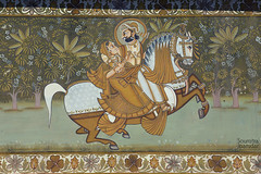 Paintings at the entrance of Mehrangarh (soumitra911) Tags: red india beautiful stone carved fort citadel paintings kila rajasthan jodhpur mehrangarh mehrangadh