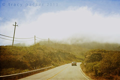 Bixby Bridge is just around the corner... (Trapac) Tags: auto california road travel summer usa mist travelling tourism lines car tarmac misty fog stone drive coast highwayone support nikon automobile driving power foggy bigsur engineering roadtrip cliffs pch highway1 coastal cables infrastructure inthecar electricity g1 winding montereycounty nikkor telegraphpole barriers touristattraction pacificcoasthighway seafog theone wmh the1 nikkor3570mm 2013 d700 nikond700 g1015 tracypackerphotography wwwtracypackercom
