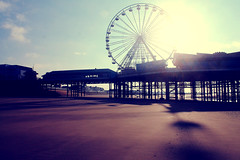 who will draw a ring around the sand (Dreemrr) Tags: november beach wheel coast pier sand shadows ferriswheel blackpool centralpier fylde