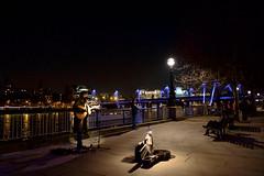 London Southbank (ddavidian) Tags: birthday london lights evening photo girlfriend guitar londoneye parliament carousel celebration buskers fujifilm oxotower 18mm xpro1