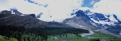 Where the clouds, ice and snow meet... (stevelamb007) Tags: mountain snow canada clouds forest rockies pano panoramic glacier alberta windingroad icefieldsparkway stevelamb