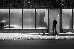 Night Walking (KevinCollins00) Tags: street city blackandwhite bw toronto ontario canada monochrome night walking person mono nikon downtown streetphotography framing d7100