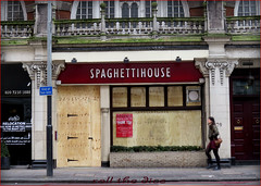 Spaghetti House Knightsbridge `Closed Down (roll the dice) Tags: uk england urban food london art history classic 1969 glass westminster menu restaurant italian closed sad natural balls knightsbridge pasta gone business shops cheers local shame boarded brompton sw1 windo hostages vanished londonist bygone buonappetito lorenzoandsimone