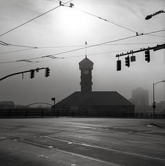 Portland (austin granger) Tags: tower film station birds fog train square portland flag tracks wires unionstation gf670 austingranger