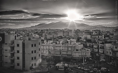 Urban sunshine (GeorgeVog) Tags: street bw sun sunshine canon landscape photography eos town is cityscape athens greece adobe software nik usm polarizer ef f4 hdr pro1 manfrotto hoya lightroom 6d bracketing 24105 polarizing 3xp peristeri
