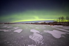 Green Curtain (John Andersen (JPAndersen images)) Tags: green ice night stars alberta aurora snowcold lochendlake