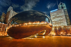 Blue Hour in Chicago (Wajahat Mahmood) Tags: cloudgate chicago illinois bean travel usa america bluehour architecture night buildings skyline city reflection nikond90 googlenik hdr