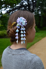 Hydrangea Kanzashi in the hair. Model wearing ajisai. (Bright Wish Kanzashi) Tags: private tsumamizaiku kanzashi handmade silk hairpin upin wearing model girl hair updo ajisai hydrangea blue purple handdyedgradation