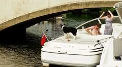 DogAndDuck (Hodd1350) Tags: dorset wareham bridge boat dog flag man male woman female river riverfrome aft stern handsup water olympus zuikolens penf alongside