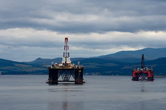 oil rigs (mrsolo) Tags: sky hills oilrigs sea cloud