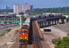 "Eastbound Manifest in Kansas City, MO (""Righteous"" Grant G.) Tags: city railroad bridge train railway trains east missouri kansas locomotive freight bnsf flyover eastbound manifest"