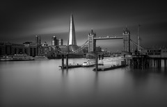 London Skyline (vulture labs) Tags: zeiss silver efex photoshop long exposure fine art photography london vulture labs tower shard skyline bridge sky clouds bw blackandwhitelongexposure