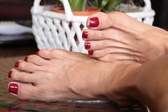 Andi (IPMT) Tags: toenail sexy toes polish foot feet pedicure painted toenails pedi zoya barefoot barefeet rojo red creme vermelho descalza warm andi medium blue toned silver shimmer