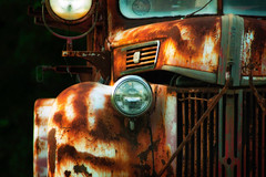 Found On Road, Dead (HacksawGeneDuggan) Tags: truck ford oldcar oldtruck vintagecar vintagetruck vintageautomobile oldautomobile rust patina vintage americana chrome headlights photogeneic eugenecampbell worn weathered vehicle oldvehicle vintagevehicle