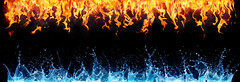 fire and water on black - opposite energy (lisame0511) Tags: fire water background black isolated energy flame blue red abstract opposite symbol power concept connection frame nature element burning orange cold heat design hot art wave drops splash bond horizontal italy