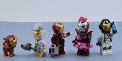 Iron man family (Alex THELEGOFAN) Tags: lego iron minifigures marvel minifigure movie man minifig minifigs minifigurine legography fish cat mask dark red white armor girl boy music headphones suit suitcase cap pink gold pearl 3 heart legion silver centurion space super heroes