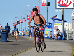 Boardwalk Cyclist (Multielvi) Tags: wildwood new jersey nj shore boardwalk south man guy dude shirtless bare chest bike bicycle candid