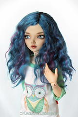 Blue rose (Kimirra) Tags: bjd abjd kagamidesign angorawig alpaca alpacawig bjdalpacawig minifee minifeechloe lillycat ombre commission colorfulhair colorfulwig