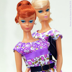 DOUBLE SWIRL (marcelojacob) Tags: barbie vintage repro swirl ponytail redhair ginger kniting pretty dancing blonde marcelo jacob dress classic print janaina sonia belt fashion pearl