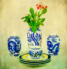 Vintage Chinese Porcelain with Flower (Colleen Coombe) Tags: asian chinese textured vases porcelain flowers image aged antique blue household leaf leaves nobody old stilllife vertical vintage white yellow infinitexposure