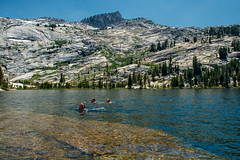 refreshing (Ben McLeod) Tags: california campbell cathedrallake liam nikki yosemite alpinelake campingtrip lake roadtrip swimming
