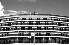 balcony lines (-gregg-) Tags: cruise ship rear back balconies bw clouds rooms lines