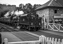Grosmont crossing. (ian.emerson36) Tags: train steam crossing heritage pickeringwhitby blackwhite canon nymr northyorkshire yorkshire grosmont