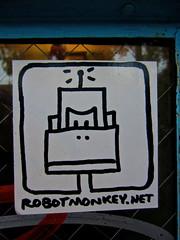 Robot Monkey, New York, NY (Robby Virus) Tags: newyork newyorkcity ny nyc city manhattan bigapple robot monkey sticker slap url street art graffiti