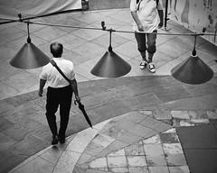 Fukuokans on Foot (Mondmann) Tags: canalcity fukuoka japan kyushu pedestrians walking lights hanginglights umbrella men fukuokans streetphotography asia eastasia mondmann canonpowershotg7x
