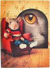 Through the Keyhole / Durchs Schlsselloch (Leonisha) Tags: puzzle jigsawpuzzle cat chat katze maus mouse clementoni