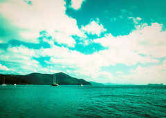 Is The Sky Blue Everywhere? (thomas_anthony__) Tags: sky blue water ocean boats clouds fuji velvia 50 island xpro