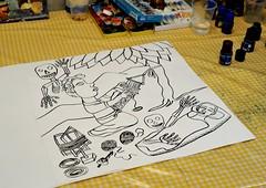 Death Drawing Weaver Oaxaca Mexico (Ilhuicamina) Tags: art drawing oaxacan mexican zapotec stories death weaver loom tejedora muerte jalieza navarrogomez
