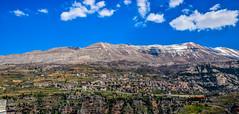 Bcharri From Hasroun, Lebanon (Paul Saad) Tags: bcharre bsharri lebanon hdr pano panorama panoramic village sky mountain nikon blue snow
