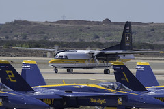 Two Types of Demonstration Teams (dcnelson1898) Tags: marinecorpsairstationmiramar marinecorps marines sandiego california mcasmiramar 2016mcasmiramarairshow airshow airplanes jets helicopters usarmy goldenknightsparachuteteam leapfrogs usnavy freefall skydiving parachute airborne c31fokker