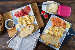 Scrambled eggs with ham and salmon (PicciaNeri) Tags: bread breakfast butter cuisine curedmeat delicious eat egg energy fatty fish food fresh fried ham hot meal meat morning nutrition nutritious pepper pork prosciutto protein salmon savoury scrambled seasoning smoked toast woodenbackground