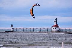 DSC00404Pw (Scott Glenn) Tags: lakemichigan kitesurfing puremichigan wind waves lighthouse pier catwalk