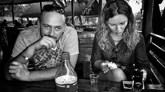 2016. Lviv. Ukraine (bobobahmat) Tags: cafe drinking eyes lovd emotions emotional face daniels jack table girl woman man reading life portrait people street ukraine town city monochrome mono blacknwhite blackwhite blackandwhite white black bw bnw