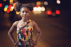 Stand bold . (Wojtek Piatek) Tags: lady ebony african night dress out lights bokeh dublin ireland zeiss 135mm sony alpha a99 road cars evening rush hour 2016 october pretty model onelight off camera flash radio trigger softbox sunday city town colors colours pose posing