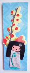 MOO44 (tengds) Tags: flowers blue red girl doll card papercraft handmadecard moocard tengds