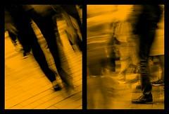 life in the city, always in motion (kokorage) Tags: life city people urban blur collage shopping boulevard legs blurred menschen stadt leben beine diptychon