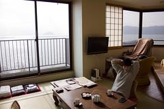 Ryokan with a view (Japanexperterna.se) Tags: lake japan japanese hotel view traditional tatami ryokan 日本 shiga nagahama biwa biwako 長浜 琵琶湖 旅館 日本人 女性 滋賀県 畳 たたみ chikubushima 竹生島