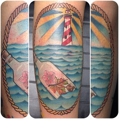 Nautical New England tattoo by Wes Fortier - Burning Hearts Tattoo Co. 1430 Meriden Rd.  Waterbury, CT