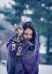 first snow (Jen MacNeill) Tags: chile winter people pet snow cat snowflakes kitten daughter kitty snowing curious thelittledoglaughedstories