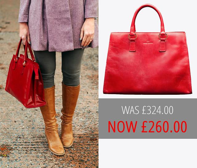 Sale: Brenda Macleod - Jane Red Italian Leather Tote Bag