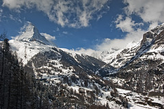 The Matterhorn , the Symbol of Switzerland. And the Zmutt Valley. No. 4120. (Izakigur) Tags: winter sky white mountain snow mountains alps clouds train schweiz switzerland nikon europa europe flickr village suisse suiza swiss feel free sua zermatt matterhorn nikkor svizzera 500faves wallis lepetitprince valais thelittleprince zaz dieschweiz cervin cervino matterhorngotthardbahn zmutt ilpiccoloprincipe lasuisse 100faves 200faves  switzerlland 300faves d700 400faves kantonwallis asafavidan nikond700 nikkor2470f28 izakigur nikon2470mmf28g reckoningsong thevallais