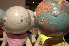 globe-head girls (Justin van Damme) Tags: world new girls music face festival night centennial hall concert globe eyes mannequins child russia head map union dresses soviet googly