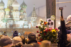 St Basil's Cathedral and the Murder Place (Wholesale of Void) Tags: bridge flowers winter night death evening candles mourning russia moscow politics rainy tragedy shooting february kremlin stbasilscathedral stbasilcathedral murdersite borisnemtsov