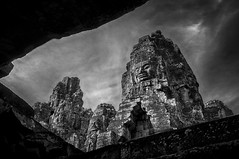 Bayon II (fredMin) Tags: travel white black architecture cambodia head sony siem reap angkor wat bayon nex